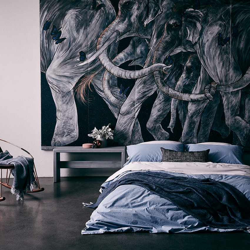Dark and moody style in the Natural Nordic bedlinen collection from Linen & Moore.