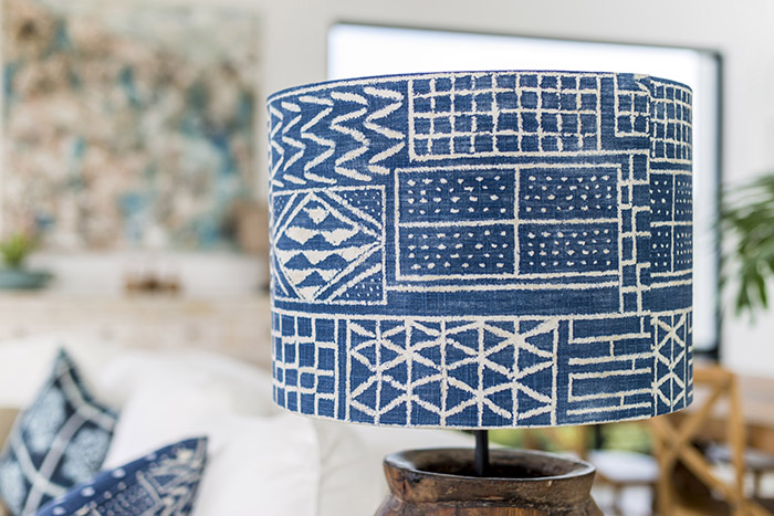 Melinda Boundy Designs blue ikat lamp shade