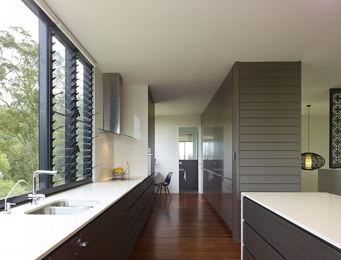 Kitchen galley - The Bird House by Jamison Architects