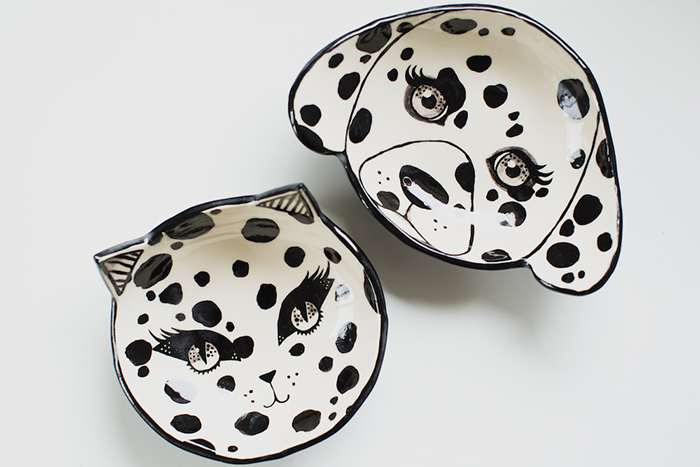 playful dog ceramics