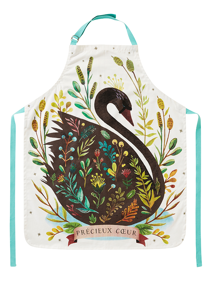 black swan cotton apron