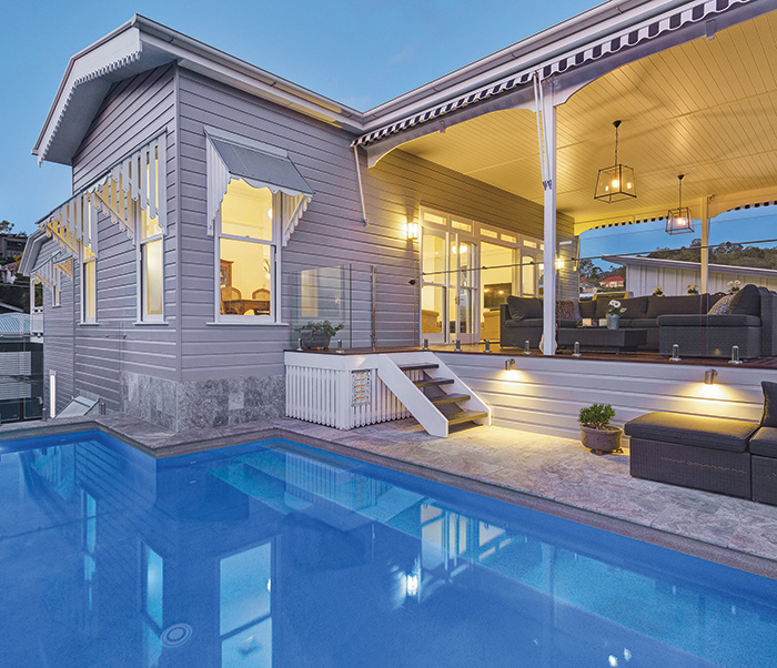 pool area in queenslander home
