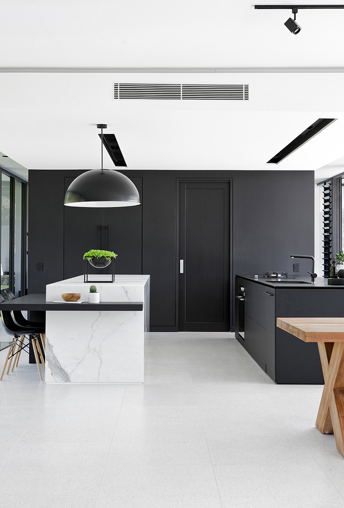 monochrome house kitchen