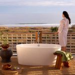 Create an outdoor bathroom with these gorgeous volcanic limestone baths