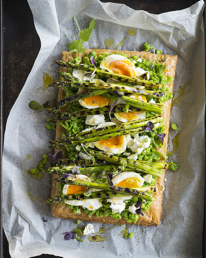 Asparagus, pea and feta tart