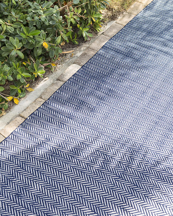 Dash & Albert Herringbone indigo indoor outdoor rugs