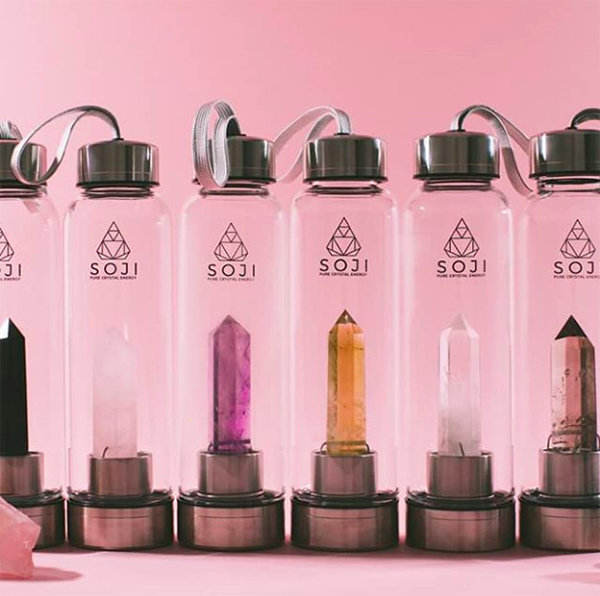 Soji crystal water bottles collection