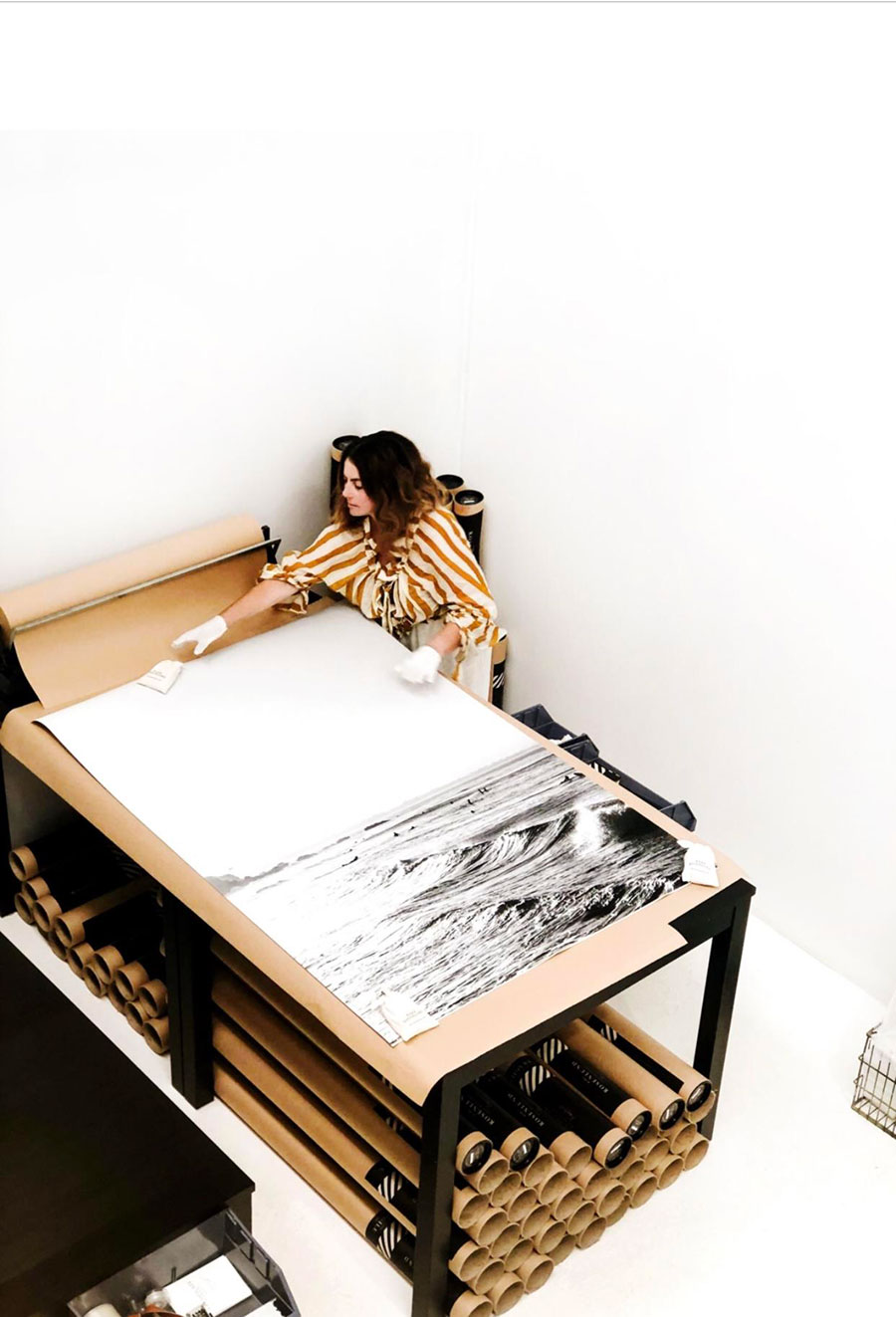 Kara Rosenlund extra large prints in the studio
