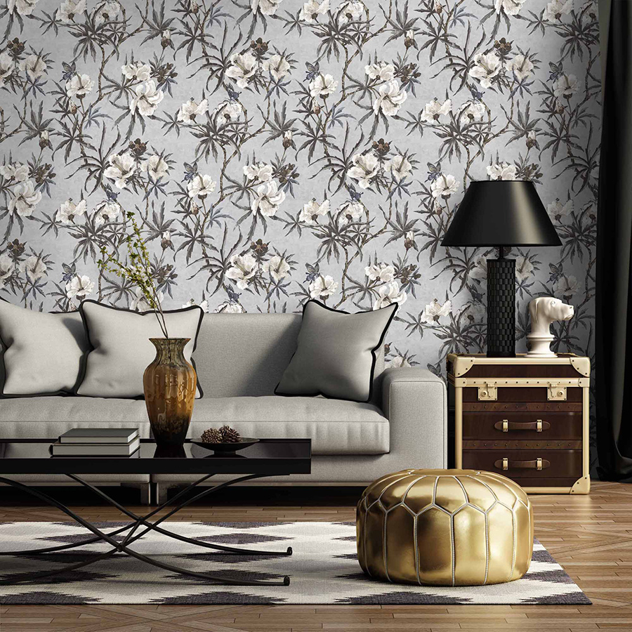 Woodchip and Magnolia wallpaper