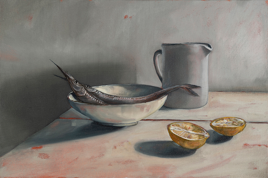 Garfish with Celia's Bowl by Mirra White, 40 x 60 cm, oil on canvas (2019)