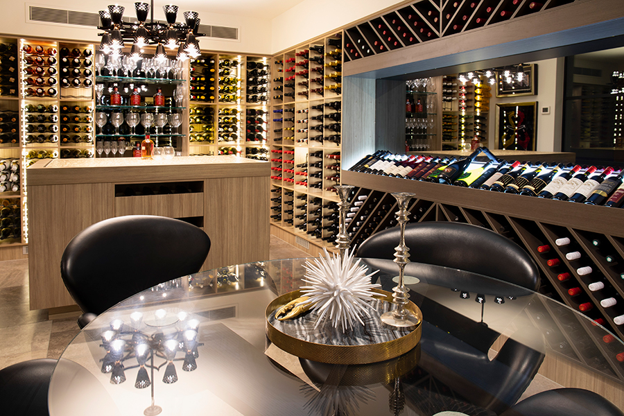 Di Henshall Interior Design modern New farm home wine cellar