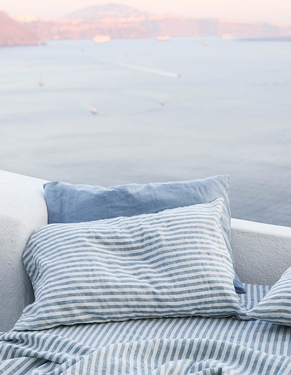 marine blue and marine blue stripe i love linen