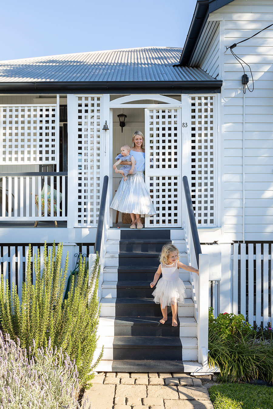Renovated Queenslander home front stairs