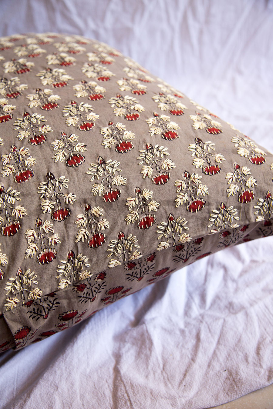 Tulasii block print embroidered cushions