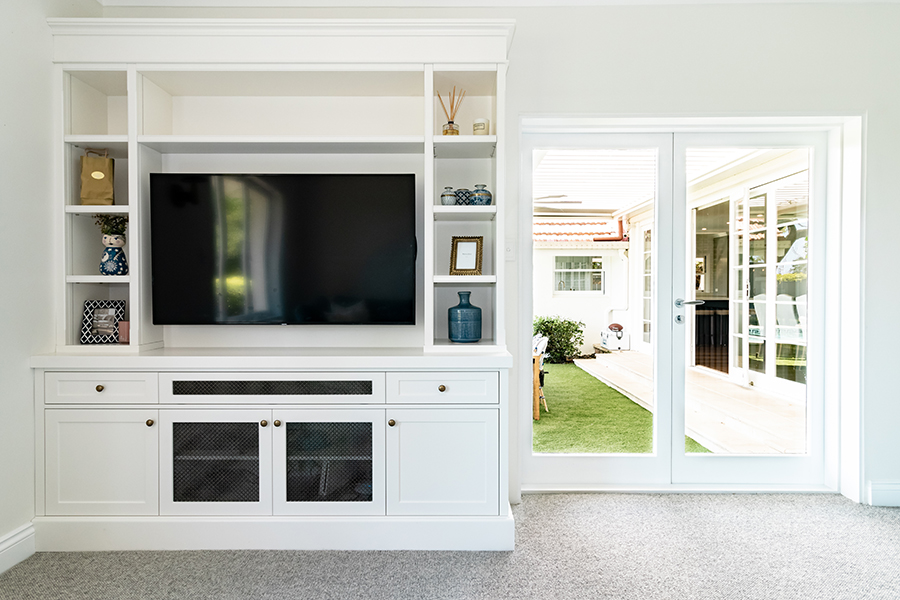 BBH Projects Tennyson renovation tv builtin cabinetry